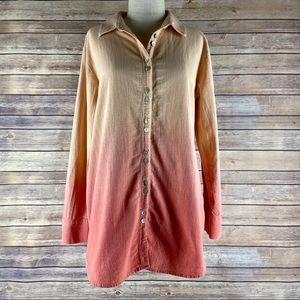 Soft Surroundings Ombre Dip Dye Button Down Tunic